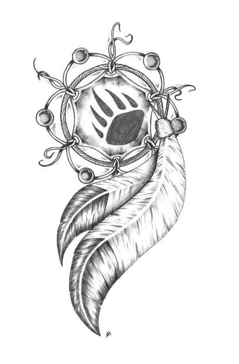 Dream catcher drawing. I love the bear paw in the middle