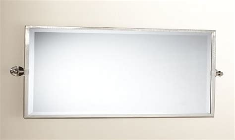 Satin Nickel Bathroom Mirror, Wide Pivot Mirror Large