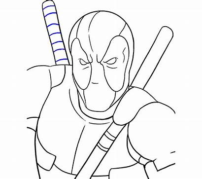 Deadpool Draw Cartoon Step Clipart Drawing Easy