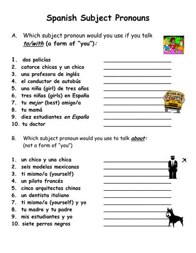 Spanish Subject Pronouns Reference And Practice By Suesummersshop  Teaching Resources Tes