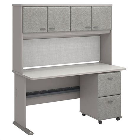 bush business series a 60 quot desk with hutch in pewter white spectrum sra039pesu