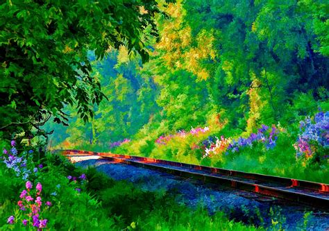 Painting Wallpaper by Railroad Tracks In Springtime Hd Wallpaper Background