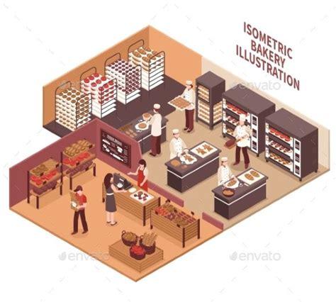 isometric bakery illustration  images bakery shop