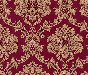 Tapete barock ornamente rasch trianon rot gold 505368 for Markise balkon mit rote barock tapete
