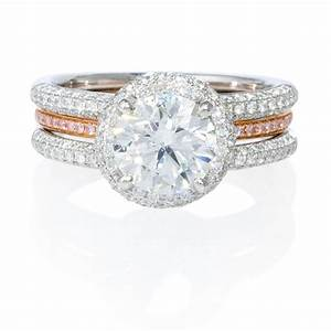 83ct simon g diamond 18k two tone gold halo engagement With two tone wedding rings with diamonds