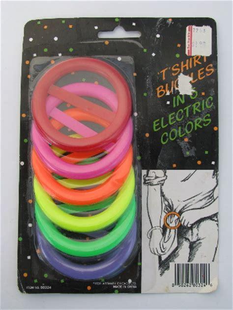 Retro 1980s neon electric colors plastic t shirt buckles