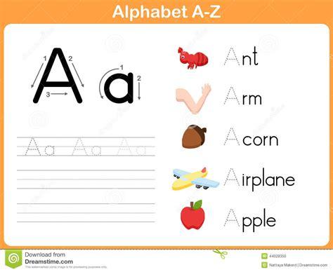 alphabet tracing worksheet stock vector image
