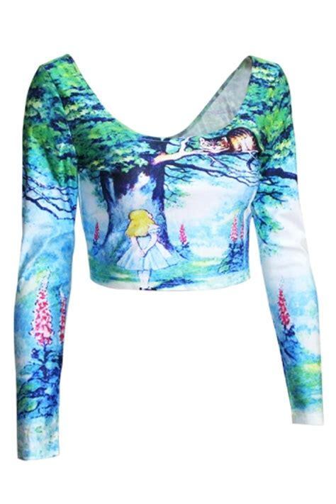 Turquoise Womens Alice In Wonderland Printed Fancy Crop