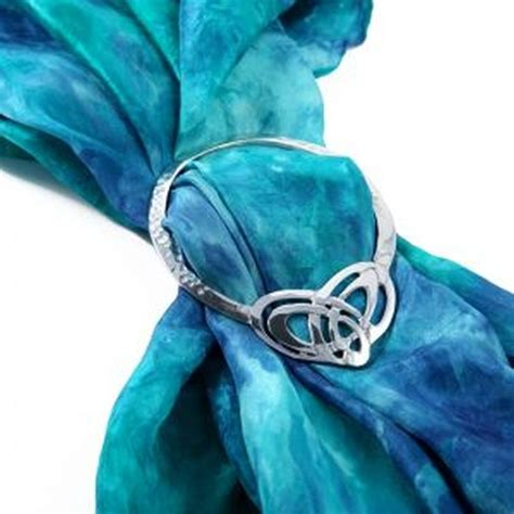 celtic heart knot large pewter scarf ring