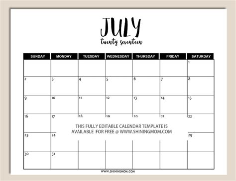 Free Downloadable Calendar Templates For Word by Free Printable Fully Editable 2017 Calendar Templates In