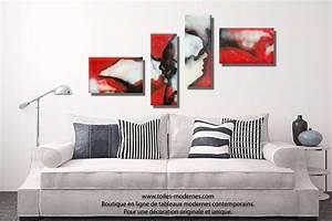 tableau rouge et noir quadriptyque abstrait visages du With couleur moderne pour salon 9 tableau panoramique noir blanc design grand format