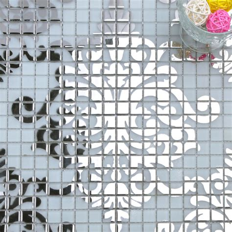 mosaic tile murals white  silver glass plated wall