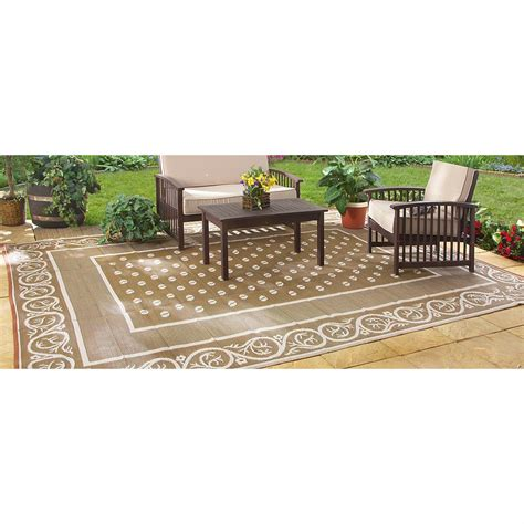 Polypropylene Patio Mat 9 X 12 by Guide Gear Reversible 9 X 12 Outdoor Rug Scroll Pattern