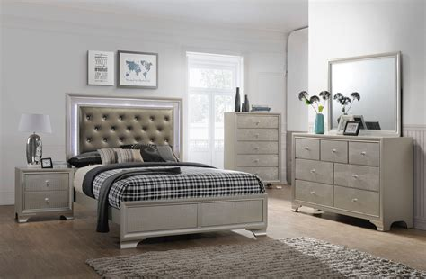 crown bedroom set lyssa led glam bedroom furniture sets