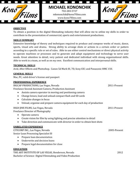 Videographer Resume by Mikekononchik Resume