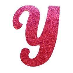 letra cursiva em gliter y pink letrasss