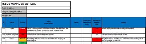 issue log template issue log free project issue log template in excel
