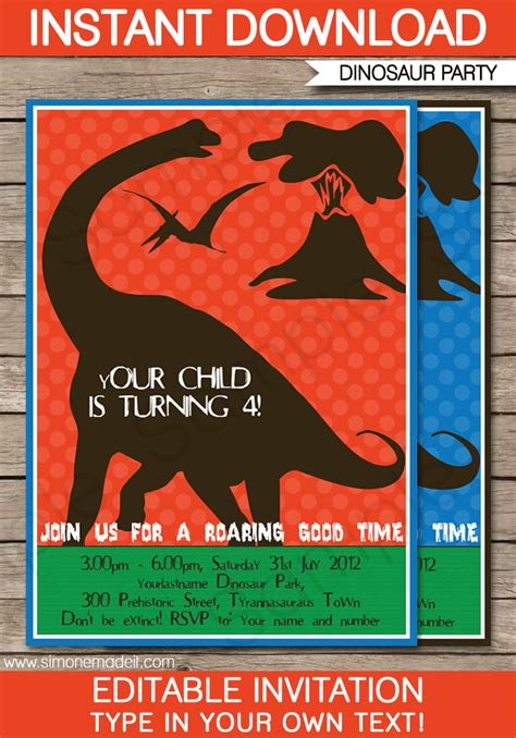 dinosaur birthday party invitations template