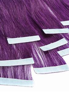 Way Hair Extensions Color Chart 18 Inch Funky Purple Tape In Hair Extensions Straight 10pcs
