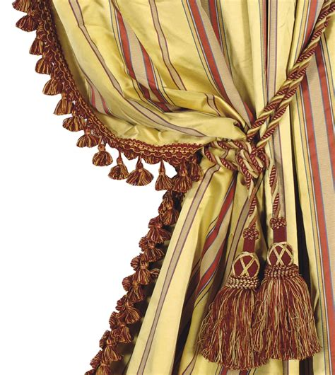 four gold and striped silk curtain panels with