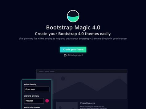 Bootstrap Theme Bootstrap Magic A Tool For Creating Bootstrap Themes