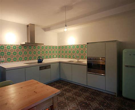 retro tile kitchen walls backsplash wallpaper  lime lace