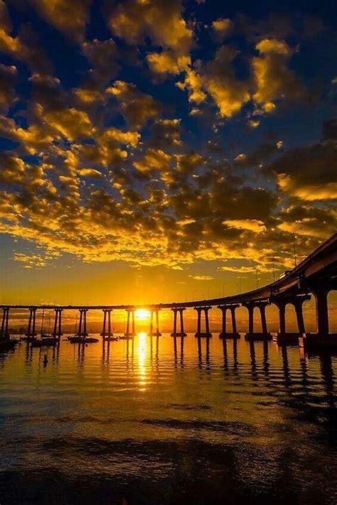 Yellow Sunset San Diego Coronado Bridge Where Wanna
