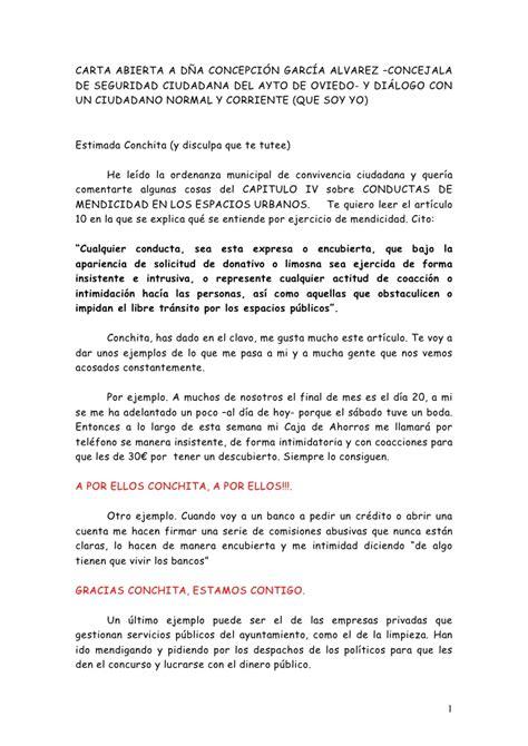 Carta Abierta A Dª Concepcion, Concejala De Oviedo