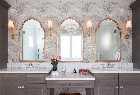 brown bath vanity  gold mirror transitional bathroom