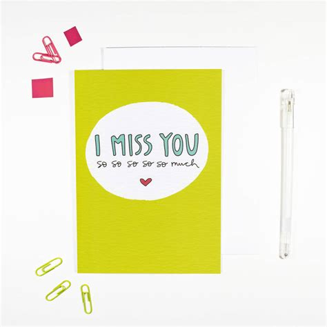Download our free ecard app. I Miss You Card By Angela Chick | notonthehighstreet.com