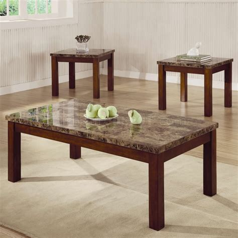 marble top coffee table set marble like top dark oak finish modern 3pc coffee table set