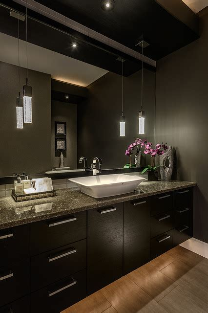 functionally decorated contemporary powder rooms