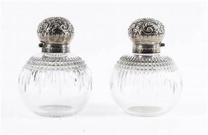 Antique Sterling Glass Cut Bottles Perfume 19th