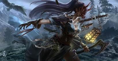 Oni Warrior Mask Purple Woman Hair Weapon