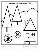 Worksheet Shapes Find Triangles Kindergarten Worksheets Shape Preschool Coloring Activities Triangle Many Pages Education Young Activity Sheets Fun Different Geometry sketch template