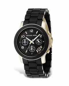 Michael kors Black Rubber Strap Chronograph Watch, 39 Mm ...