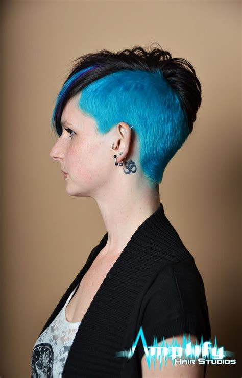 asymmetrical hairstyle  funky dramatic haircolor