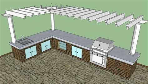 attached pergola plans howtospecialist how woodwork outdoor kitchen pergola plans pdf plans