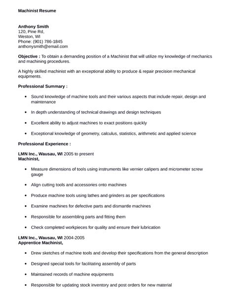 Machinist Sle Resume by Business Machinist Resume Template