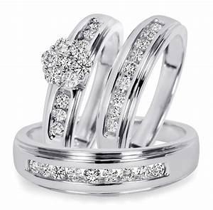 34 CT TW Diamond Trio Matching Wedding Ring Set 14K