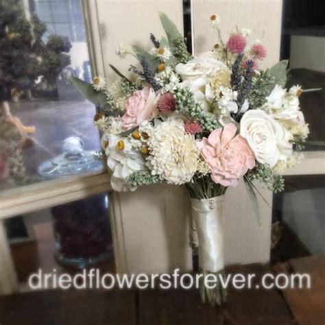 dried flower wedding bouquet pink cream blush moss
