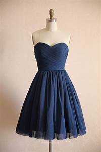 navy blue short bridesmaid dress strapless sweetheart With short blue wedding dress
