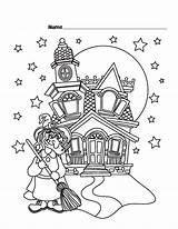 Coloring Pages Witch Halloween Printable Castle Print Printables Haunted Sheet Witches Hat Freekidscoloringpage Wicked Puzzles Games Fun Broom Total Views sketch template