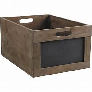 Caisse En Bois : caisse de rangement en bois avec ardoise ~ Nature-et-papiers.com Idées de Décoration