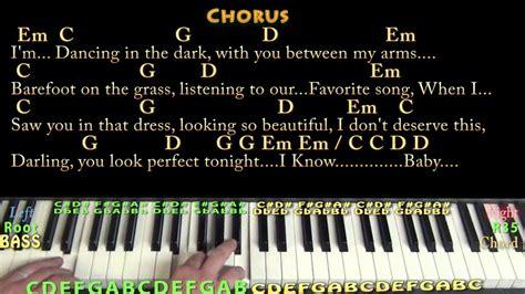 perfect ed sheeran piano cover lesson    chords