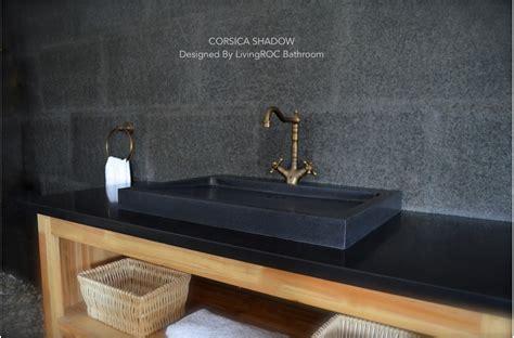 mm black granite stone single trough bathroom basin