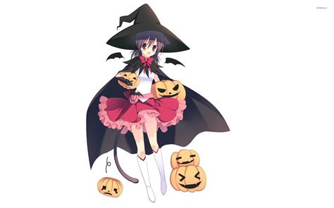 Anime Girl Witch Wallpaper Girl Witch With Pumpkin Wallpaper Anime Wallpapers 32890