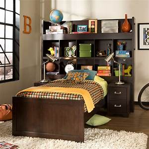 American, Woodcrafters, Smart, Solutions, Twin, Bookcase, Bed, With, 2, Nightstands