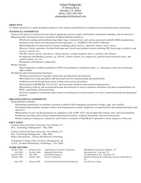 Environmental Services Manager Resume Sle by Environmental Technician Resume Sle 28 Images Clinical Lab Technician Resume Sales