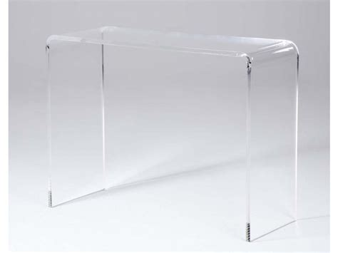 unique mobilier de bureau console flavie acrylique coloris transparent ou blanc